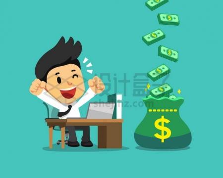 卡通商务人士看到钱袋子中不断有钱赚钱了很高兴png图片素材