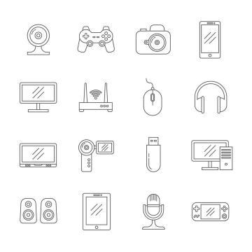 简约IT数码产品icon线性图标图片免抠素材