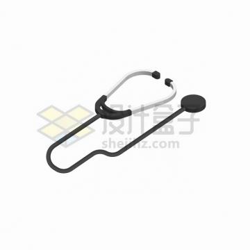 2.5D风格银色黑色听诊器医疗用品png图片素材