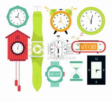 糖果色风格时钟挂钟手表闹钟电子钟沙漏等时间计时工具png图片免抠矢量素材