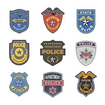 9款警察徽章设计方案图片免抠矢量素材