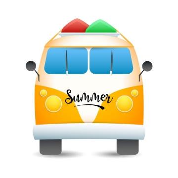 小清新可爱风格夏日旅游中的旅行巴士汽车图片免抠素材