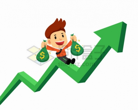 卡通商务人士拿着钱袋子坐在上涨的绿色增长箭头上赚钱了png图片素材