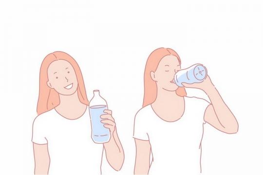 彩色线条手绘喝水的美女png图片免抠素材