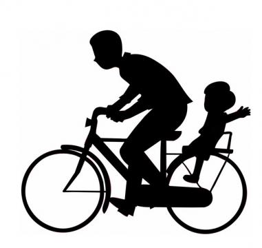 爸爸骑自行车带着儿子父亲节剪影436675png图片素材