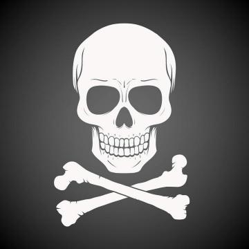 白色的骷髅头危险标志图案免扣图片素材