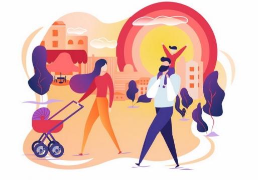 扁平插画风格推着婴儿车的年轻妈妈和爸爸一家人郊游散步png图片免抠素材
