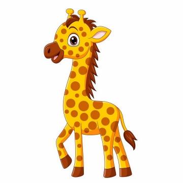 可爱的卡通长颈鹿动物儿童画png图片免抠矢量素材