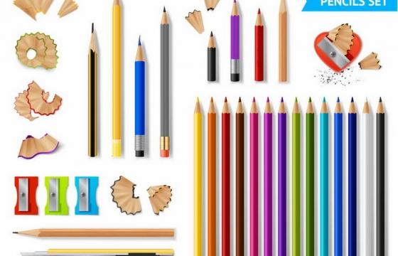 各种彩色铅笔画笔和铅笔刀铅笔屑png图片免抠矢量素材