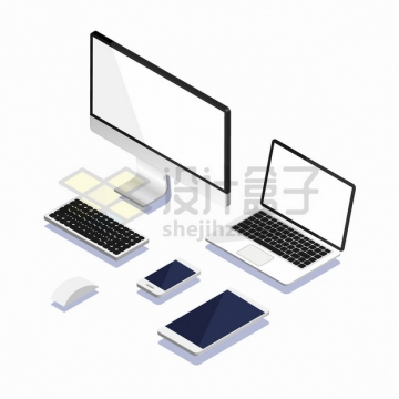 2.5D风格电脑显示器笔记本电脑键盘鼠标手机平板电脑等png图片素材4546677