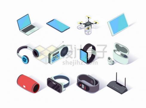 2.5D风格笔记本电脑手机无人机平板电脑耳机收音机智能手表等数码产品png图片免抠矢量素材
