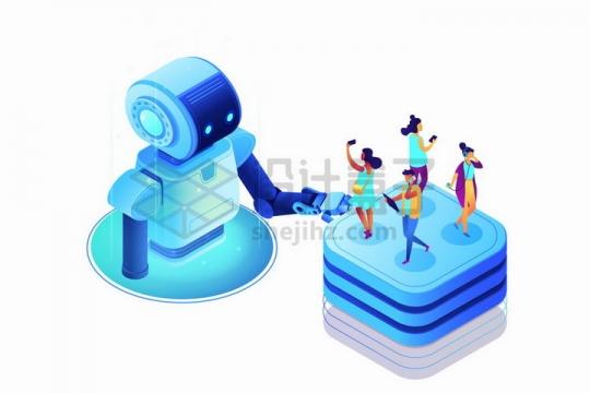服务大众的2.5D蓝色卡通小机器人自动化社交媒体png图片免抠矢量素材