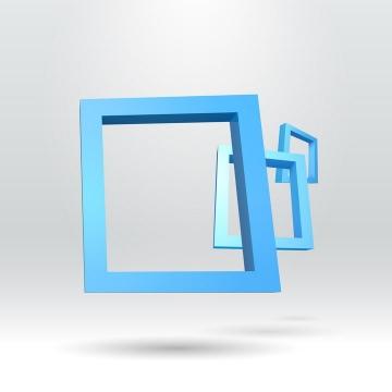 3个叠加在一起的立体蓝色边框装饰免抠矢量图素材