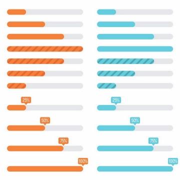 4款扁平化风格加载进度条loading设计png图片免抠eps矢量素材