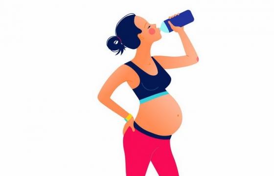扁平插画风格喝水的怀孕孕妇png图片免抠素材