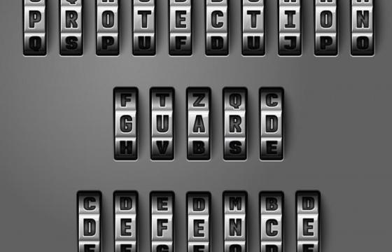 金属色风格的字母密码锁图片免抠素材