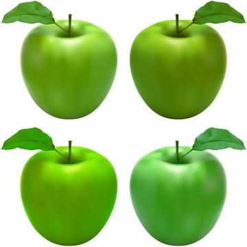 4种不同角度带叶子的青苹果美味水果png图片免抠EPS矢量素材