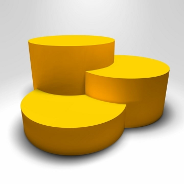 3个叠加在一起的立体黄色圆形台阶免抠矢量图素材