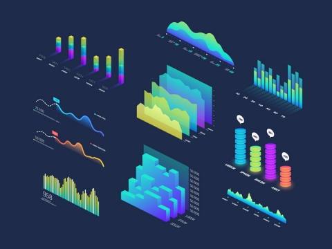2.5D风格立体彩色柱形图曲线图波形图等PPT配图元素图片免抠素材
