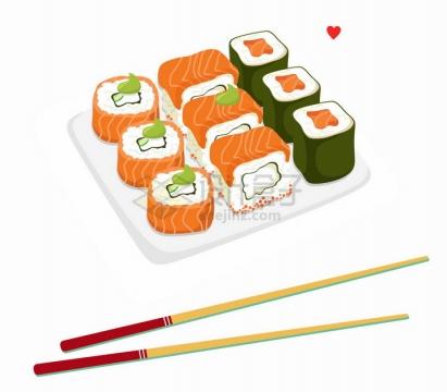 白色瓷盘中装着的日本寿司美味美食png图片免抠矢量素材