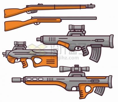 MBE风格猎枪自动步枪和狙击枪等轻武器png图片免抠矢量素材