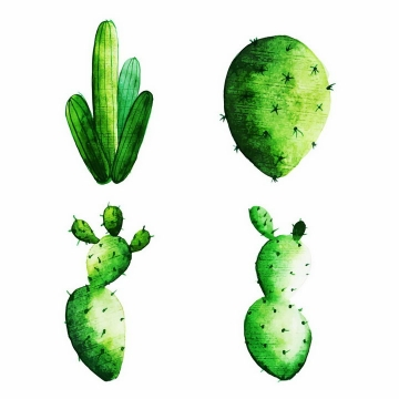 彩绘风格的仙人掌仙人棒绿色植物png图片免抠EPS矢量素材
