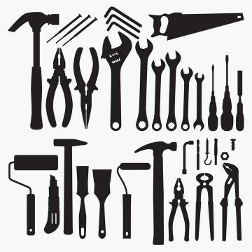 榔头老虎钳螺丝刀手工锯扳手美工刀锤子毛刷等常用家庭工具剪影图片免抠矢量素材