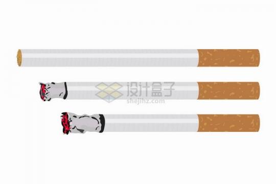 3根燃烧中的香烟吸烟有害健康png图片素材