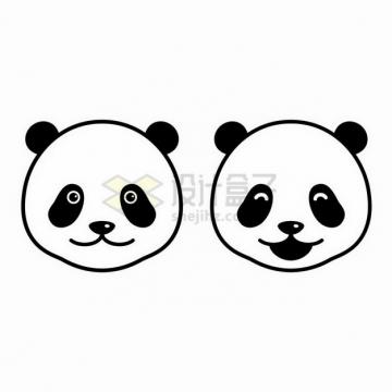 简约的两款黑白色大熊猫的头png图片免抠矢量素材