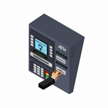 2.5D风格风格银行ATM取款机png图片免抠eps矢量素材