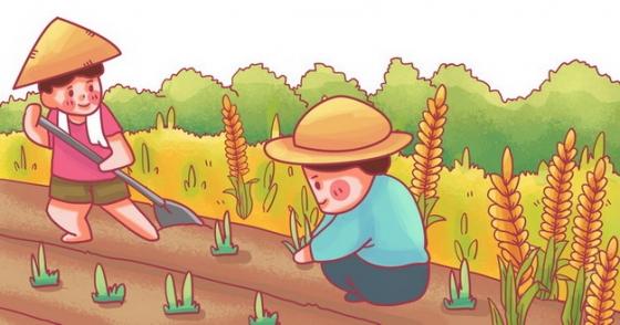芒种卡通农民正在种地png免抠图片素材