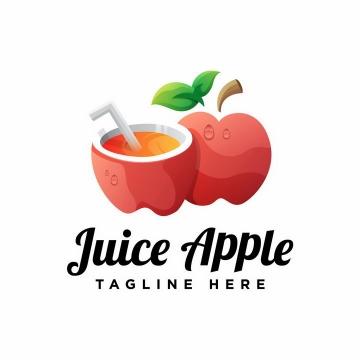 创意果汁红苹果logo设计方案png图片免抠素材