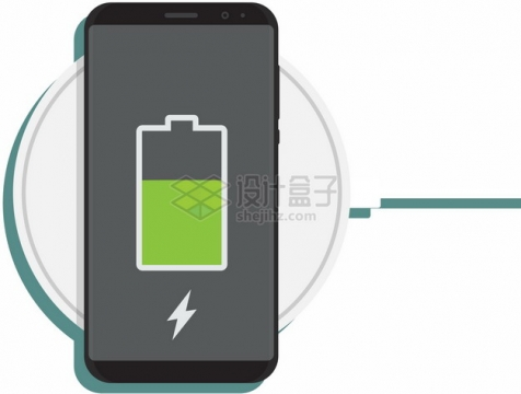 手机无线充电器正在充电扁平插画495016png图片素材