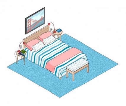 2.5D手绘风格粉色女孩房间内的双人床免抠矢量图素材