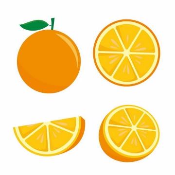 4款扁平化风格橙子切开的橙子美味水果横切面png图片免抠EPS矢量素材