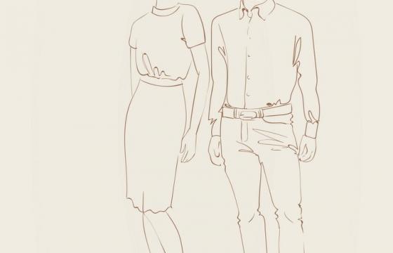 简约线条风格时尚职场男装女装时装设计草图图片免抠矢量素材