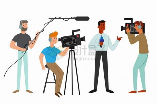 新闻记者采访摄像团队扁平插画png图片素材