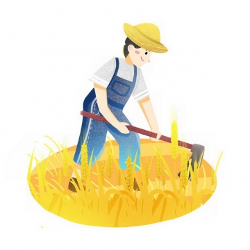 芒种农民用锄头耕地收割小麦插画png免抠图片素材