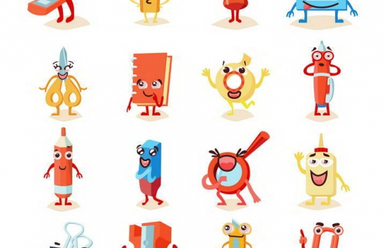 卡通可爱风格拟人化的各种办公用品订书针回形针铅笔等图片免扣素材