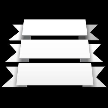 白色立体风格的飘带形文本框免抠矢量图素材