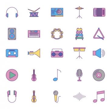 彩色扁平化风格各类音乐乐器器材icon图标图片免抠素材
