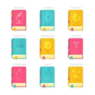 糖果色风格的9款书本书籍免扣图片素材