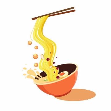 扁平化风格筷子挑起碗里的面条png图片免抠素材