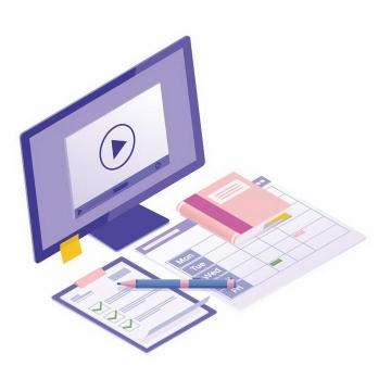 2.5D风格电脑显示器记事本商务信息图片免抠素材