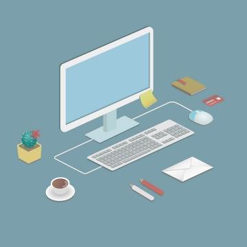 2.5D风格电脑显示器键盘咖啡邮件等办公桌用品图片免抠矢量素材