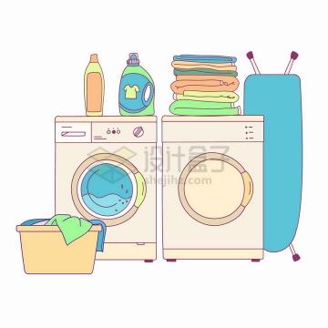 洗衣机和烘干机以及各种衣物清洁剂手绘插画png图片免抠矢量素材
