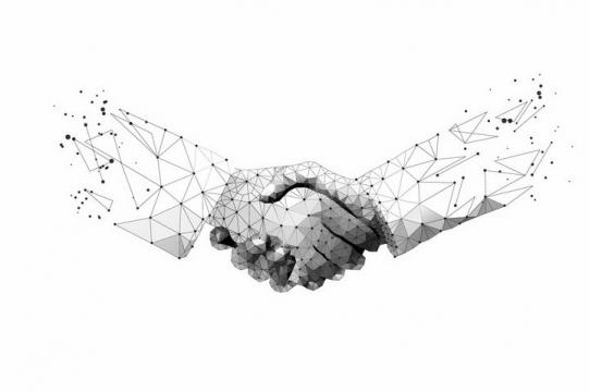 多边形组成的两只手正在握手png图片免抠eps矢量素材
