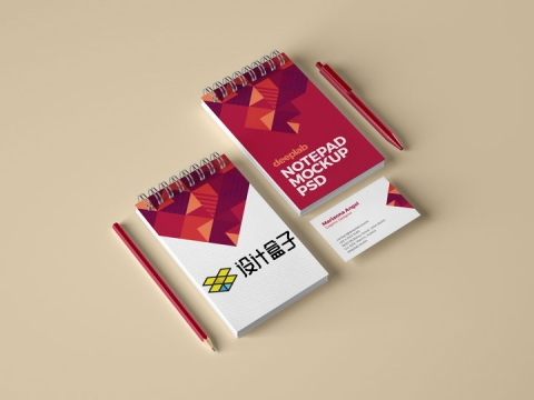 红色铅笔圆珠笔和两本记事本封面名片展示样机图片设计模板素材