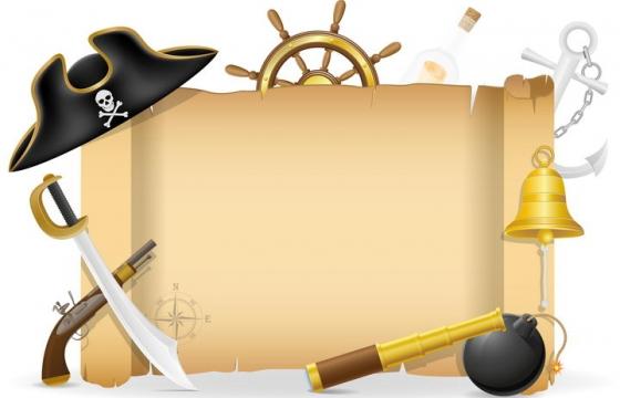 海盗帽复古卷轴文本框信息框免抠矢量图片素材