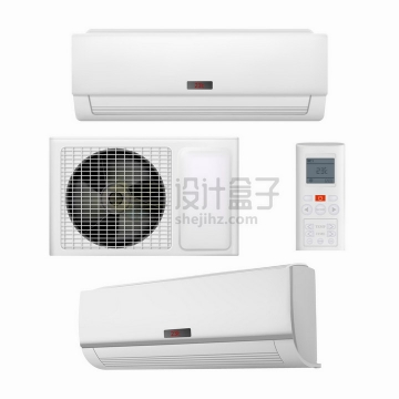 白色的空调外机室内机和遥控器png图片免抠矢量素材
